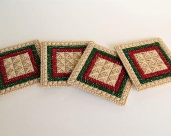 4 Vintage Handcrafted Needlepoint Plastic Canvas Coasters