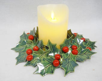 """Holly with Berries Candle Ring Handmade Decorative Ceramic Tile Table Decor 9 1/2"""""""
