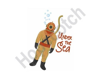 Under The Sea - Machine Embroidery Design, Deep Sea Diver