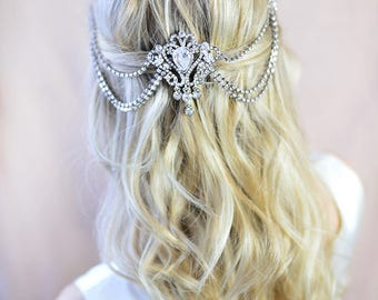 Wedding Hair Accessory, Bridal Hair Comb, Vintage Style Bridal Hair Accessory, Boho, Grecian, Hair Chain, Crystal Comb - 'VICTORIA'