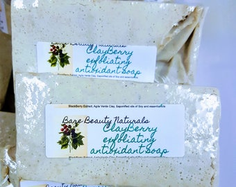 ClayBerry Exfoliating Antioxidant Soap  // Hydrating // Exfoliating // Free Exfoliating soap bag // Sacral Chakra Healing