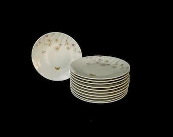 Vintage Mid Century Modern Classic Rosenthal Porcelain of Germany Set of 11 Plates with Flowers and Butterfly Theme MCM
