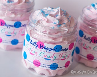Cotton Candy Icing Fluffy Whipped Soap - Vegan Friendly, Cotton Candy Soap, Body Wash, 4 oz.