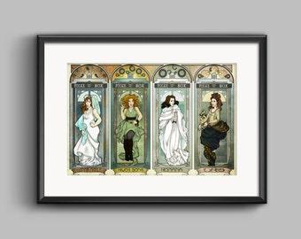 BBC Dr. Who Art Nouveau Poster Print Companions Donna Noble River Song Romana Tardis