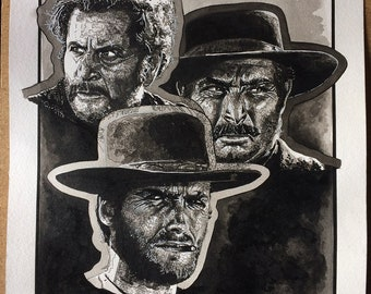 Art Print of pen/Ink painting by Raquel Gomes, of the main characters in The Good, The Bad and The Ugly (1966)