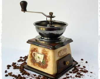 Coffee grinder wood ceramic coffee grinder Vintage Manual grinder kitchen decor vintage look, Vintage coffee mill, Old coffee grinder Coffee