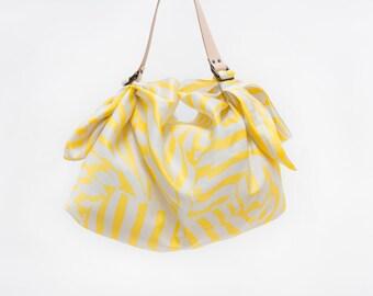 Free Shipping Worldwide / Stripe Yellow Furoshiki & Tan Leather Carry Strap Set