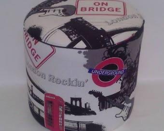 English fabric pouf on bridge, underground 1407