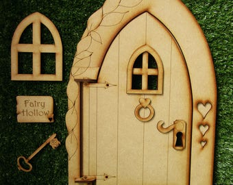 Giant 1-Foot Tall \u0027Fairy Hollow\u0027 Opening Wooden Fairy Door Craft Kit. & Wooden Fairy House Kit with Fully Opening Fairy Door