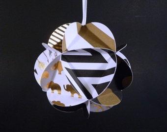 Paper Globe Ornament, DIY kit, black white gold decor, DIY wedding decor, party decoration, icosahedron geodesic sphere, 3d ball, papercraft