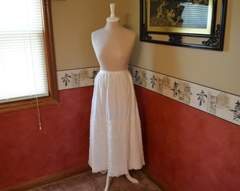 Crocheted Petticoat, Antique Skirt, 1910 Clothing, Handmade Cotton Dress, #326