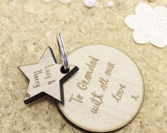Personalised Wooden Grandparent Keyring for Grandad's Gifts