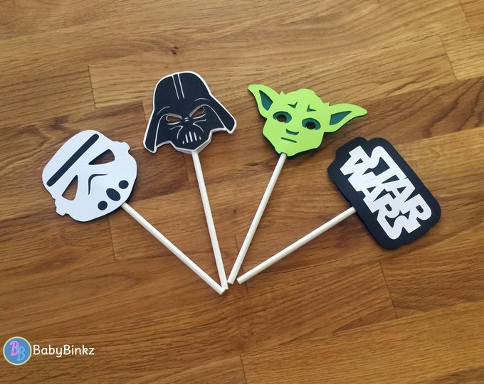 Cupcake Toppers: The Star Wars Set - party wedding birthday jedi force yoda darth vader storm trooper the force awakens decoration