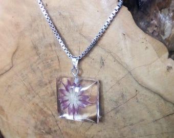 Real flower necklace pendant, purple flower pendant, botanical jewellery, real flower jewellery, encasing nature