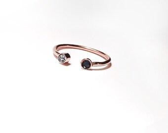 14k Gold Black and White Diamond Ring
