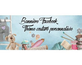 Sewing theme personalized Facebook banner