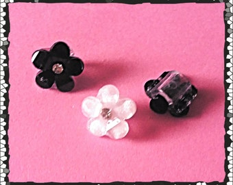 Tube Trinkets: Black and White Crystal Flower Blossoms!