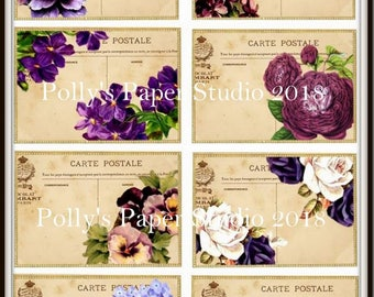 Purple floral Post Cards  Digital Images printable download file for Cards and Tags and Crafts Polly's Paper Studio 8 Images