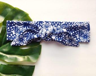 Blue Floral - Headband Headscarf Neckscarf Adult