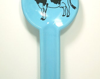 spoon rest in cloudless blue with a Holstein cow on it, made to order / pick your colour