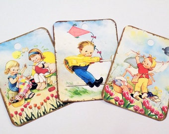 Spring Kids Tags - Set of 8 - Vintage Kids - Spring Cleaning - Kite Flying - Knitting Tag - Cute Kids Tags - Outdoor Kids - Spring Flowers