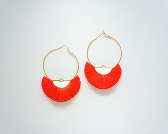 Hoop Earrings Gold Hoop Earrings Gold Earrings Boho Hoop Earrings Tassel Hoop Earrings Hoop Tassel Earrings Red Tassels/CAMILLE
