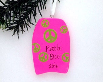 Boogie Board Personalized Christmas Ornament / Bright Pink / Beach Ornament / Vacation Ornament  / Summer Vacation