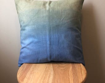 Blue/Green Dip-Dye Pillow Cover