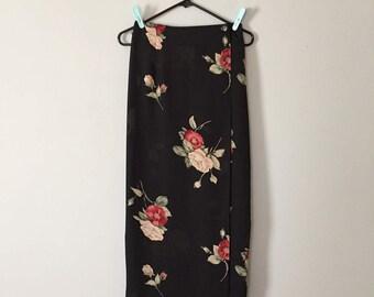 90s semi sheer mesh wrap maxi skirt | red and nude roses skirt