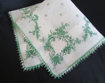 vintage unused HANKY fine white banded cotton lawn with green floral print - tatting and rolled hem hankies Handkerchief Hand H102