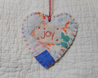 Wordz From the Heart Snippet Ornament - JOY - Stitched From Recycled Vintage Quilt Piece