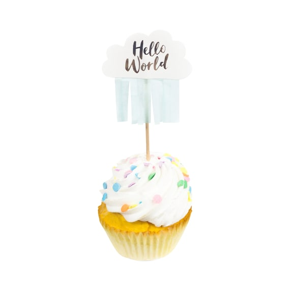 10pc Hello World Cupcake Toppers, Hello World Toothpicks, Mint Toothpick, Food Decoration, Neutral Baby Shower Toothpick Hello World Script
