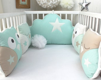 Bumper baby 60cm wide, or child's room decoration, OWL and cloud, sea green and beige.