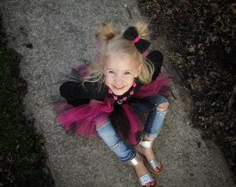Hot Pink and Black Tutu - Tutu for babies and girls - princess tutu - tutu