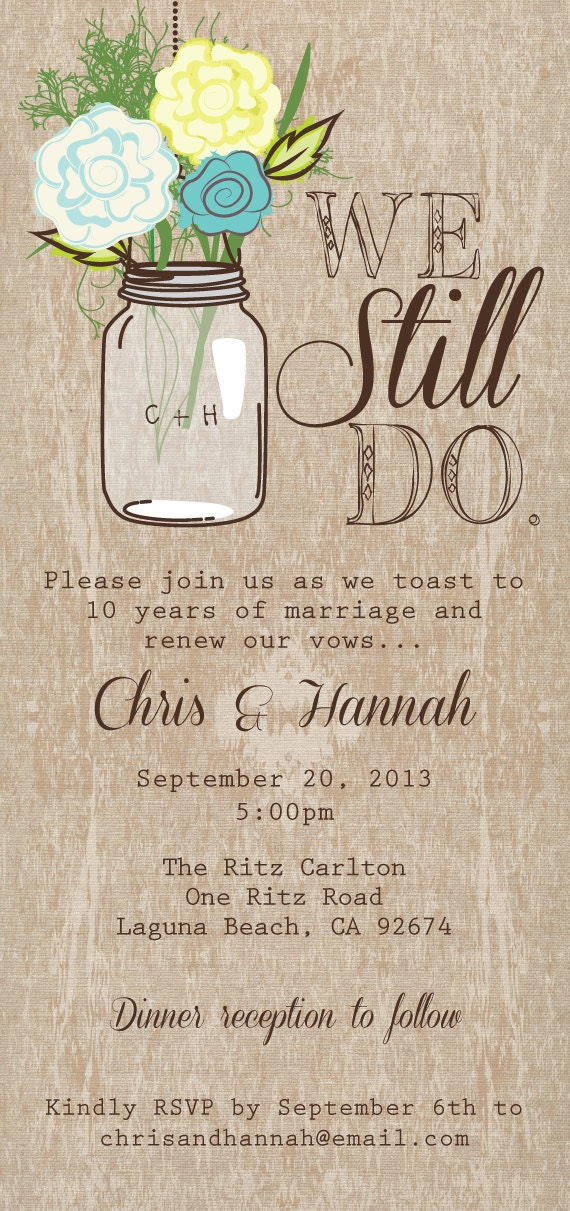 Mason Jar Printable Invitation Rustic Wedding Invitation We