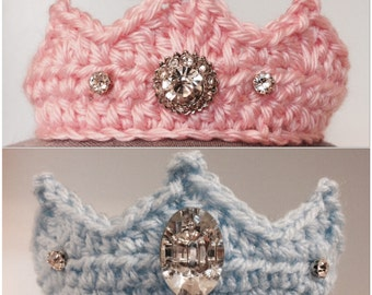 Newborn Crown, Newborn Tiara, crochet tiara, crochet crown, Baby Tiara, Baby Crown, Jewels, Newborn, Tiara, Crown, Preemie, w/ or w/it jewel