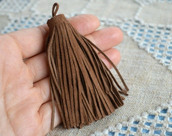 Camel Brown Suede Leather Tassel 8.5cm Large Charms Pendant