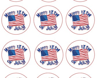 Fourth of July Edible Image Cupcake Toppers