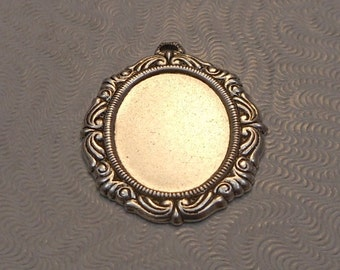 LuxeOrnaments Antiqued Sterling Silver Plated Brass Filigree Pendant Setting (18x13mm tray) (Qty 1) 27x21mm S-5913-S