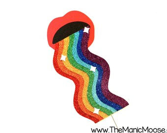 Rainbow Vomit Photo Booth Prop ~ Rainbow Mouth Filter Prop ~ Rainbow Throw Up ~ EXTRA LARGE PROP