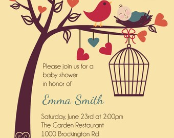 Birds and Bees Baby Shower or Gender Reveal Invitation - Printable Digital Invitation - Custom Personalized