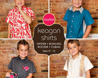 Keagan Boy Shirts PDF Downloadable Pattern by MODKID... sizes 2T to 10 included - Instant Download