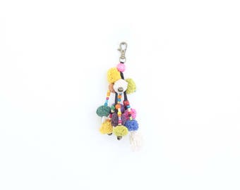 Colorful Keychain With Hmong Pompoms Tassel