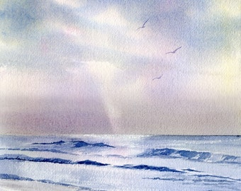 Silver Morning Seascape with waves, clouds, and a ray of light