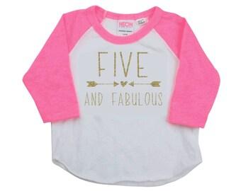 5th Birthday Shirt Girl 5 Year Old Birthday Shirt Kids Birthday Shirt Five and Fabulous Shirt 5 Birthday Shirts for Girls 193