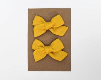Mini Pinwheel // Canary Pigtail Set