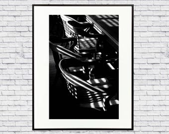 Chairs, Fine Art Photography, Home Décor, Wall Art, Free Shipping, Wall Hanging, Minimalist, Office, Black and White  Photography