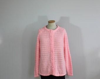 1960s Pink Comfy Knit Grandma Japanese Cardigan // Medium