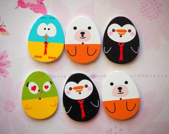 6 buttons, wood, with animal egg 30x24x2mm 4 varied and different colors, sewing, scrapbooking, deco, customization...