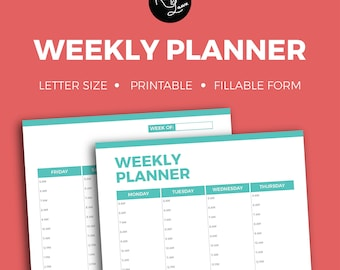 Weekly Planner + Editable + Fillable + Printable + Household + Organization + Tracker + Notes + To Do + Checklist + Organize + School